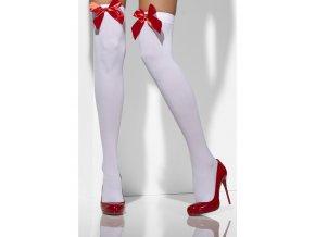 Bílé punčochy s červenou mašlí A2