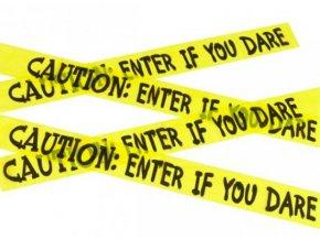 Halloween žlutá páska Vstup pro odvážné