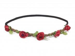 květinová čelenka do vlasů červená levně 74b2661e8b