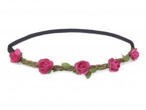květinová čelenka do vlasů růžová levně