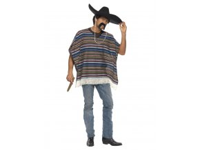 Pánský kostým Mexičan pončo modré