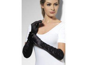 Dlouhé rukavice nařasené černé