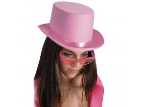Dámský klobouk cylindr růžový