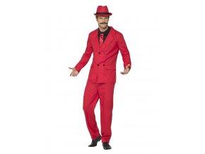 Mafiánský kostým oblek červený