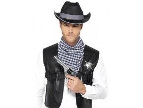 Kovbojská sada vesta klobouk šátek odznak