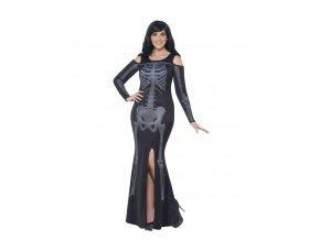Kostým kostlivky šaty s odhalenými rameny