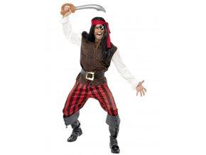 Pánský kostým pirát hnědý pro dospělé