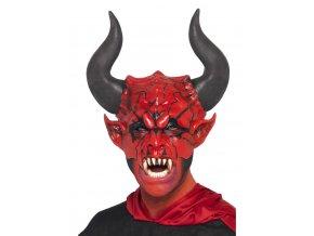 Maska čerta velké rohy partyzon