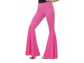 Dámské široké kalhoty růžové partyzon