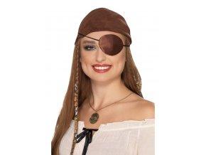Pirátské oko hnědý satén