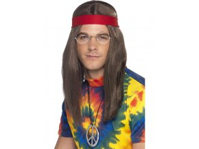Pánské hippies doplňky (paruka, brýle, přívěsek)