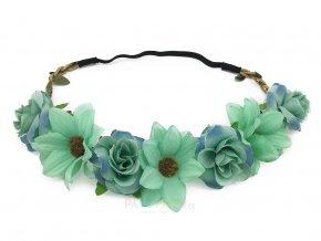 modrá květinová čelenka levně
