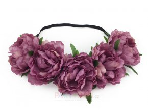 fialová květinová čelenka svatební