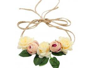 rustikální květinová čelenka s provázkem