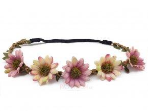 květinová čelenka růžová partyzon