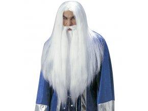 Bílá paruka s vousy Čaroděj