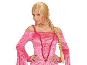 Blond paruka s dlouhým copem karneval