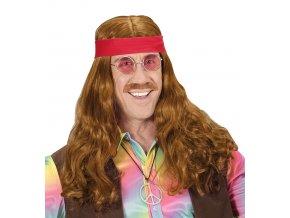 párty Hippie paruka s knírem a čelenkou