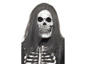 halloween Maska kostra s vlasy
