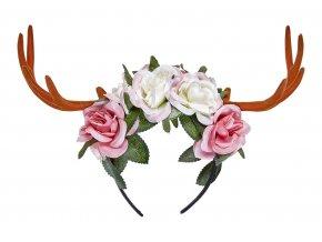 Čelenka sobí rohy s květinami