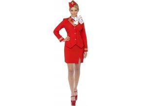 Dámský kostým letuška červená levně