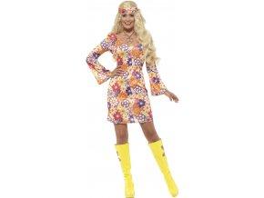 Kostým hippies květinové šaty karneval
