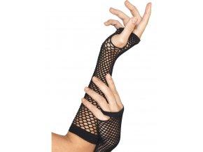 Síťované rukavice bez prstů černé