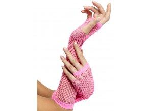 Síťované rukavice bez prstů růžové