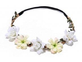 bílá květinová čelenka