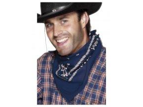 modrý kovbojský šátek