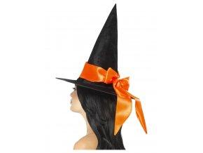 čarodějnický klobouk s oranžovou stuhou