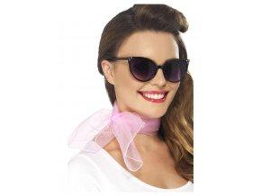 šifonový šátek růžový 50 leta