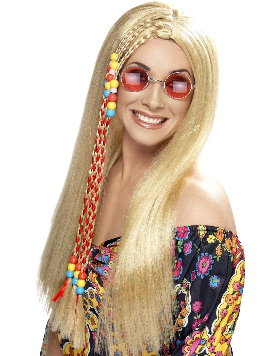 Paruka Hippies blond s korálky