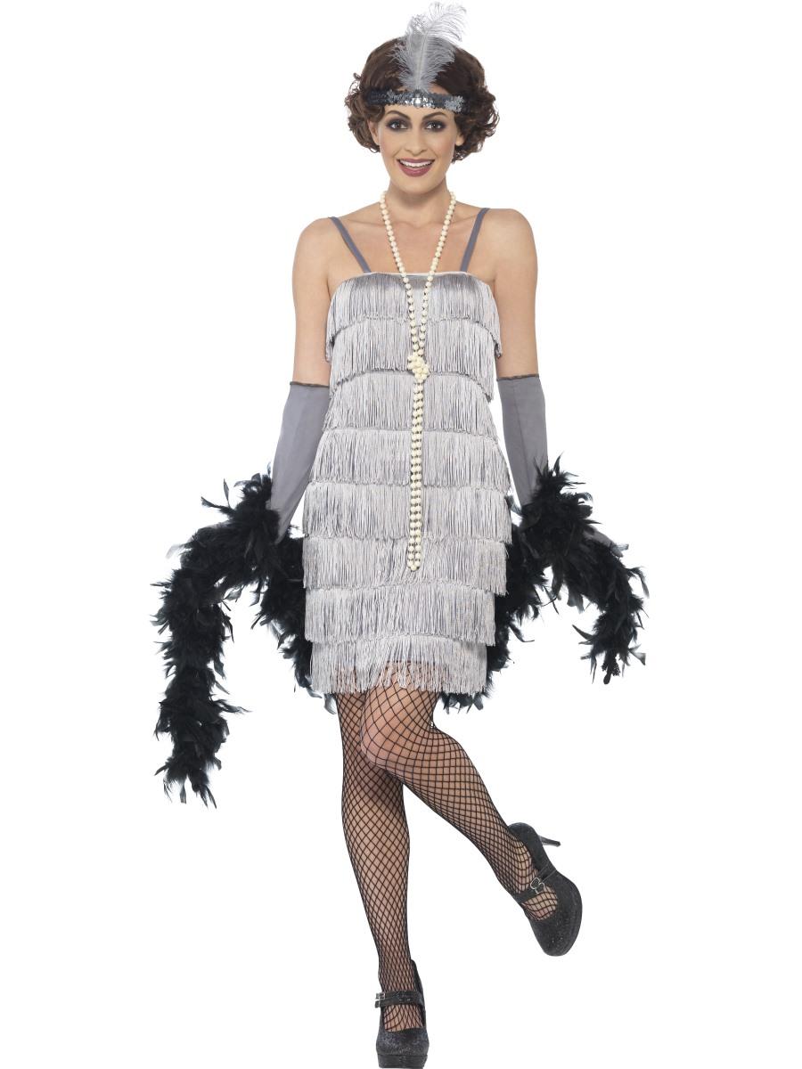 Charleston šaty 30. léta stříbrné Velikost: S (36-38)