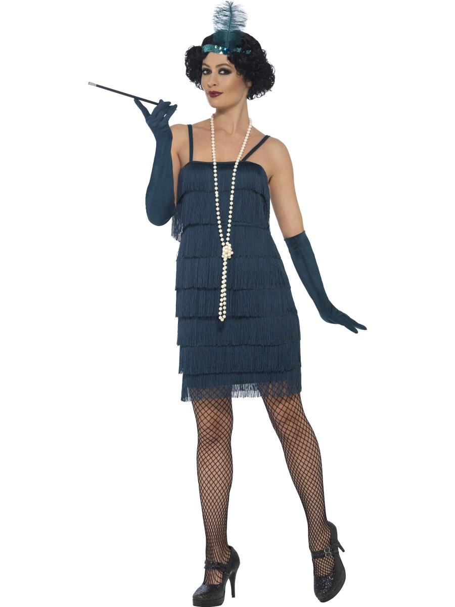 Charleston šaty 30. léta tyrkys Velikost: S (36-38)