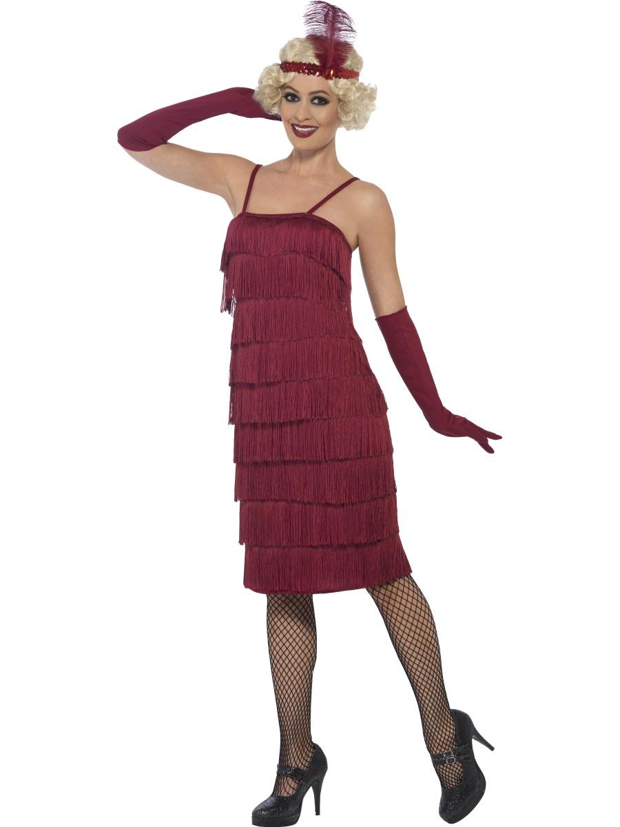 Kostým 20. léta Charleston šaty burgundy Velikost: S (36-38)