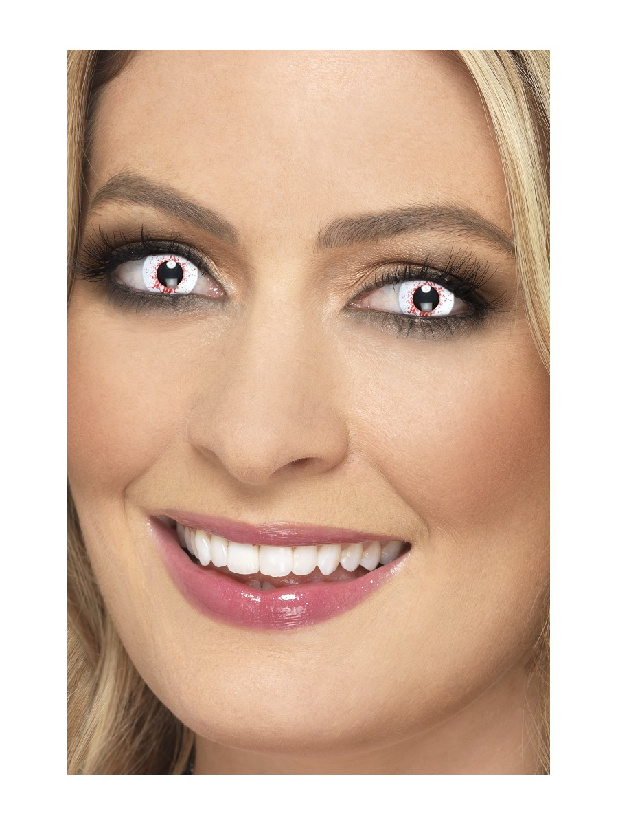 Barevné kontaktní bílé krvavé čočky