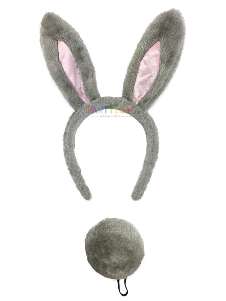 Sada zajíček šedý - čelenka, ocas
