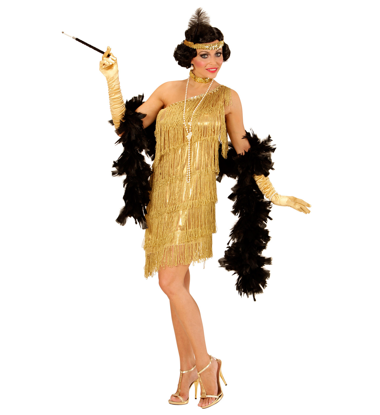 Dámský kostým 20. léta zlatý Velikost: S (36-38)