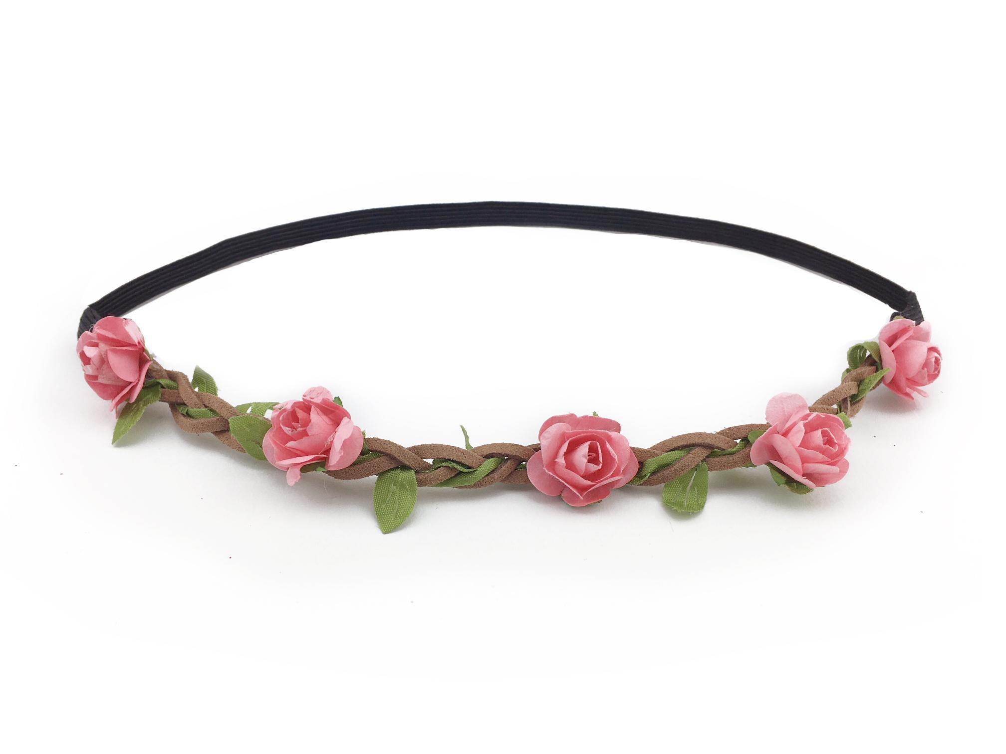 Květinová čelenka do vlasů růžová