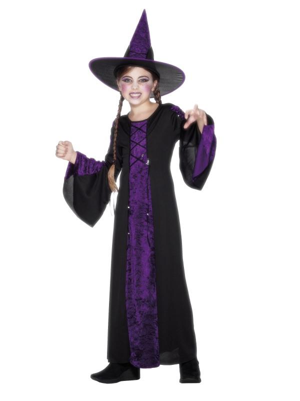 Dětský kostým čarodějnice fialový Velikosti: M (7-9 let)