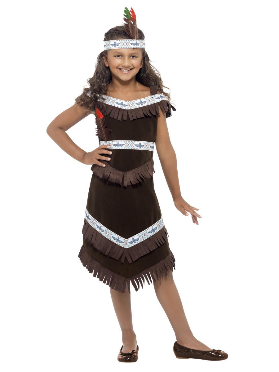 Kostým indiánské šaty hnědé Velikosti: M (7-9 let)