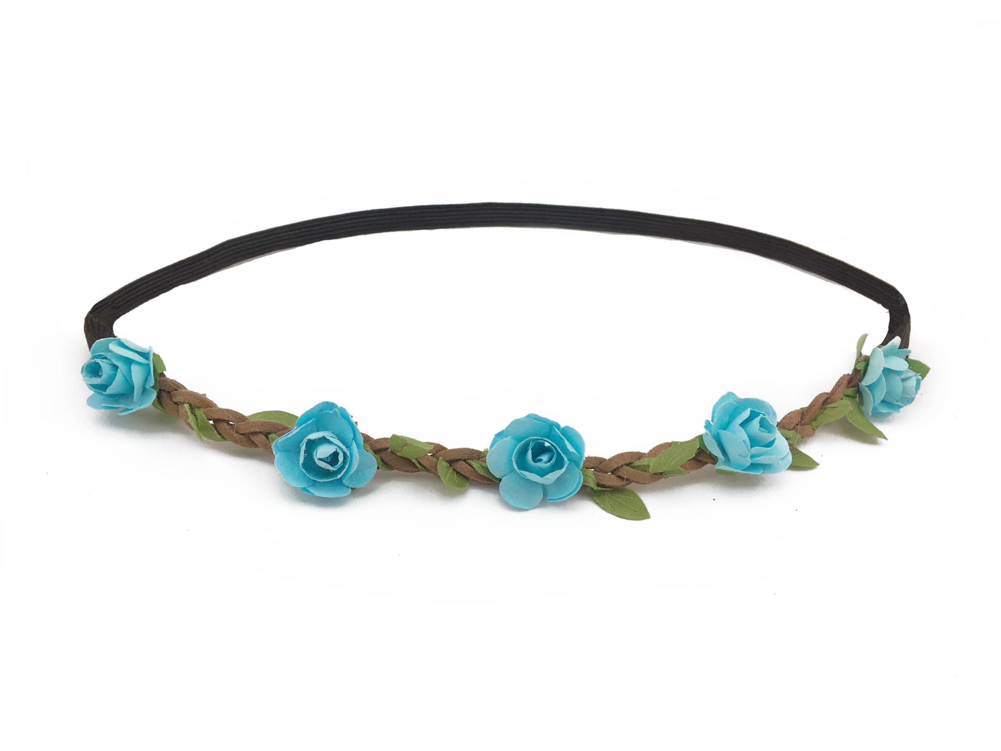 Květinová čelenka modré růžičky