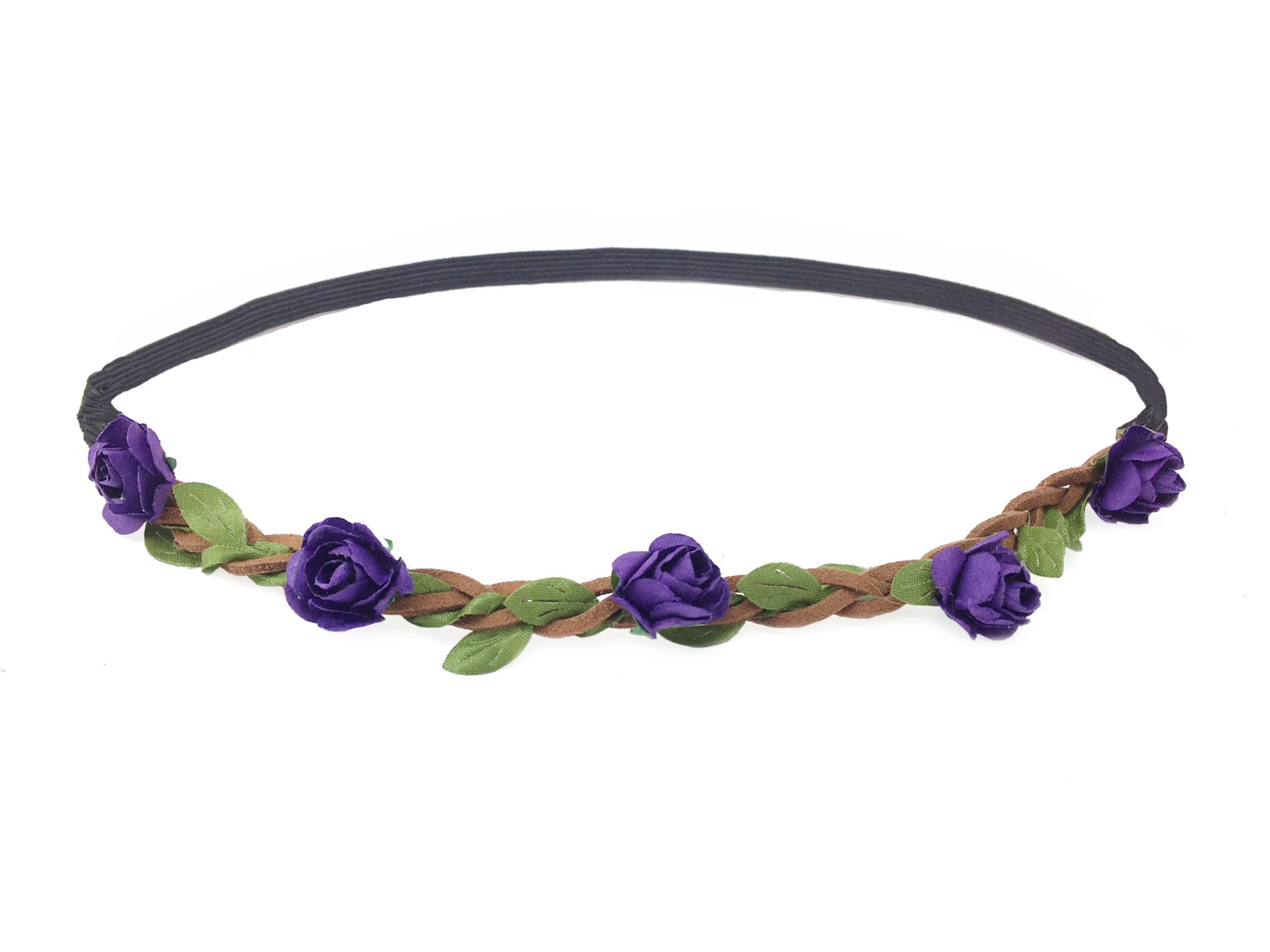 Květinová čelenka do vlasů fialová