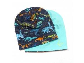 Oboustranná čepice s barevnými dinosaury