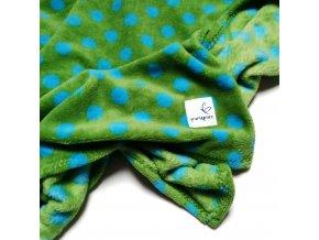 Muchlací deka zelená s puntíky