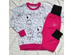 Pyžamko dlouhé s autorským motivem pejsků - holčičí