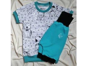 Pyžamko krátké s autorským motivem pejsků - klučičí