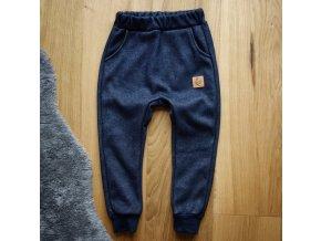 Zateplené tepláčky jeans tmavý