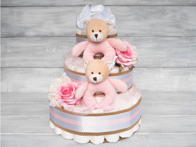 Plenkovy dort tripatrovy bilý ruzovy pro dvojcatka pro holcicky